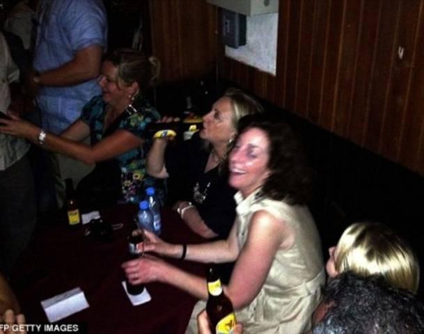 Hillary Clinton boozing in Columbia