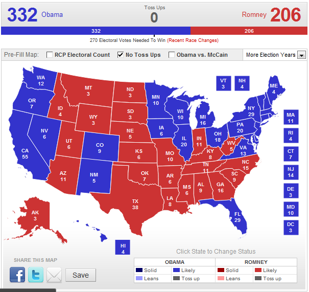 Electoral Map--No Toss-Ups
