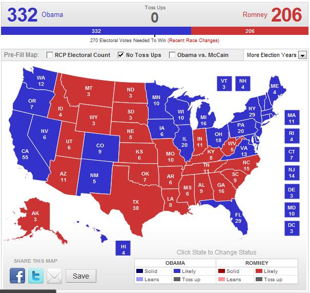 Electoral Map--No Toss-Ups