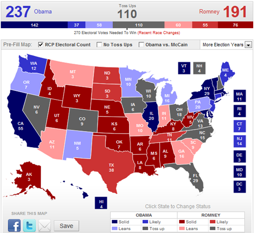 RealClearPolitics - 2012 Election Maps - Obama vs. Romney Create Your Own Electoral Map