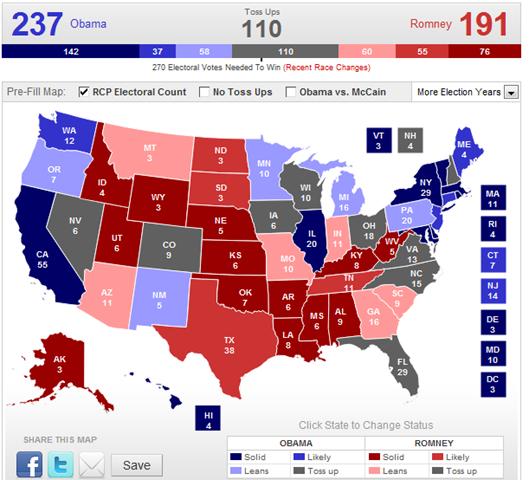 Realclearpolitics 2012 Election Maps Obama Vs Romney ...